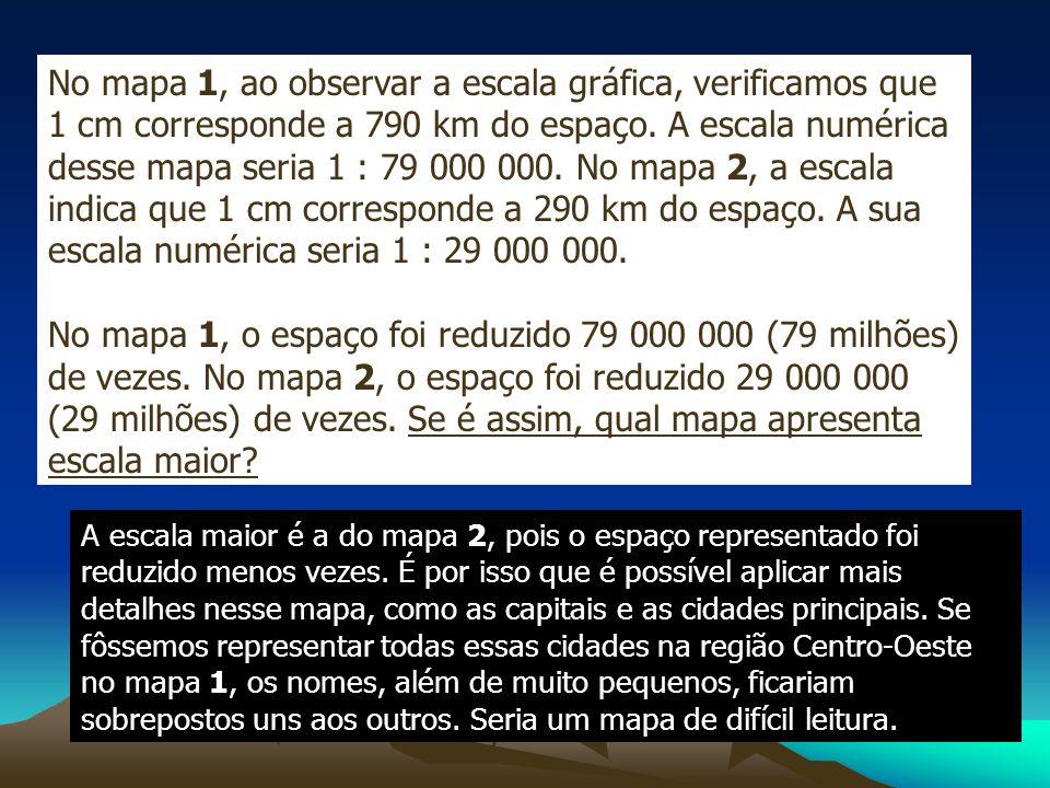 No mapa 1, ao observar a escala gráfica, verificamos que 1 cm corresponde a 790 km do espaço. A escala numérica desse mapa seria 1 : 79 000 000. No mapa 2, a escala indica que 1 cm corresponde a 290 km do espaço. A sua escala numérica seria 1 : 29 000 000.