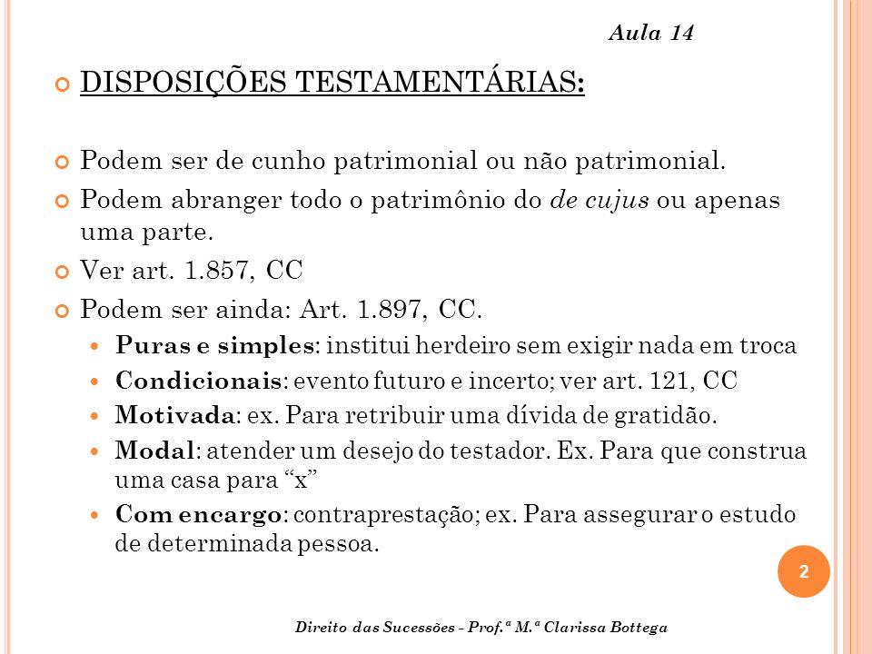 DISPOSIÇÕES TESTAMENTÁRIAS: