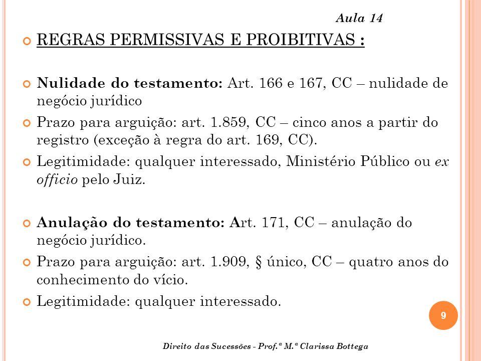 REGRAS PERMISSIVAS E PROIBITIVAS :