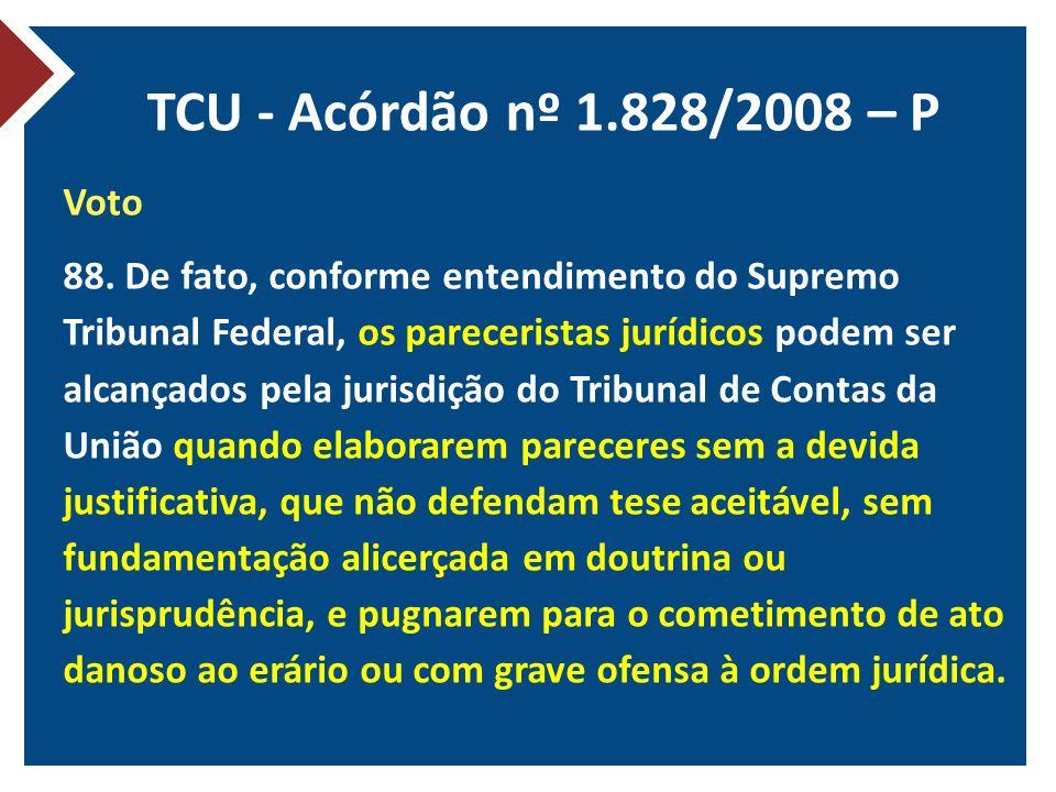 TCU - Acórdão nº 1.828/2008 – P
