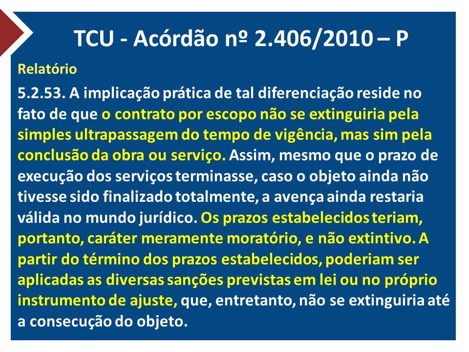 TCU - Acórdão nº 2.406/2010 – P Relatório.