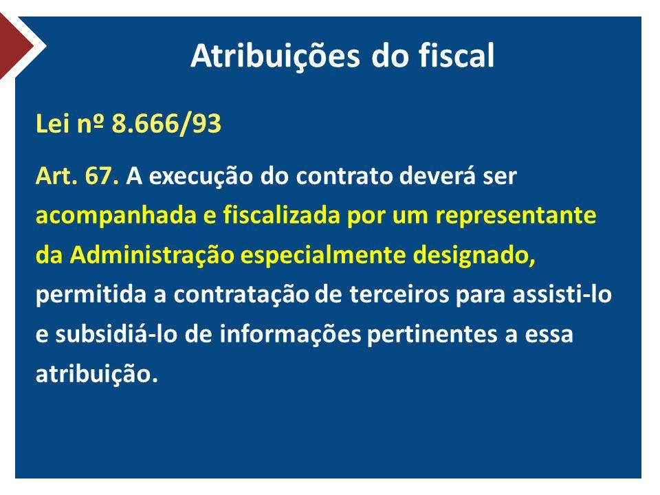 Atribuições do fiscal Lei nº 8.666/93