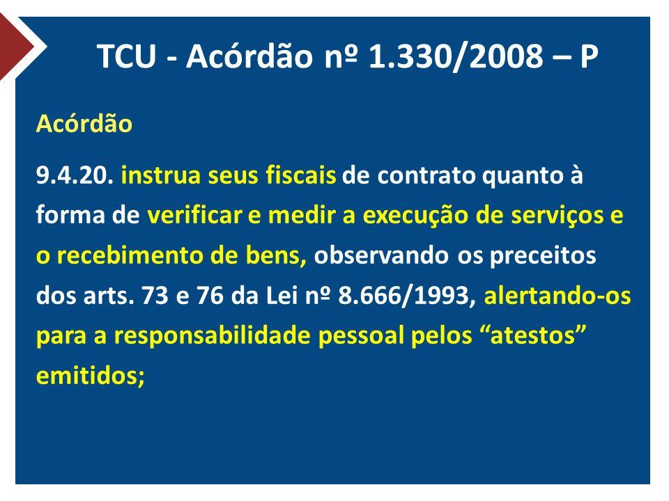 TCU - Acórdão nº 1.330/2008 – P