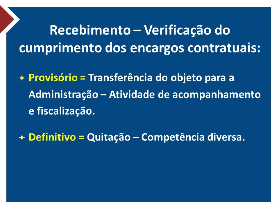 Recebimento – Verificação do cumprimento dos encargos contratuais: