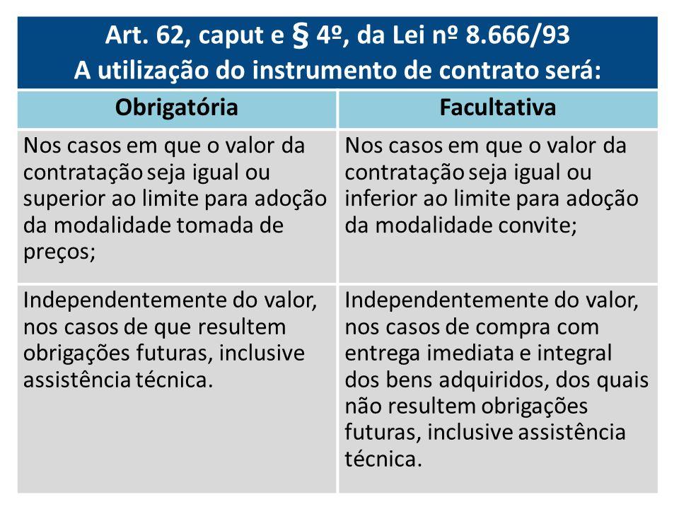 A utilização do instrumento de contrato será: