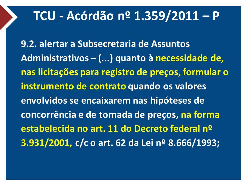 TCU - Acórdão nº 1.359/2011 – P