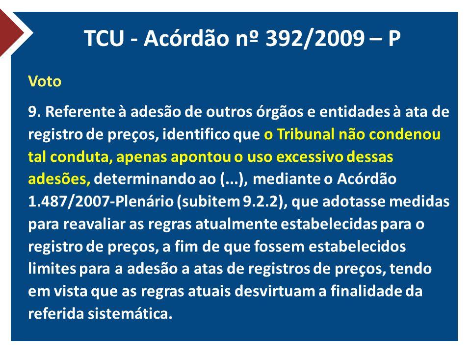 TCU - Acórdão nº 392/2009 – P