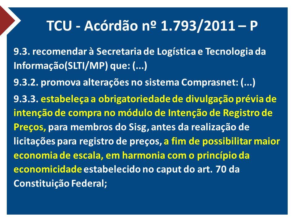 TCU - Acórdão nº 1.793/2011 – P