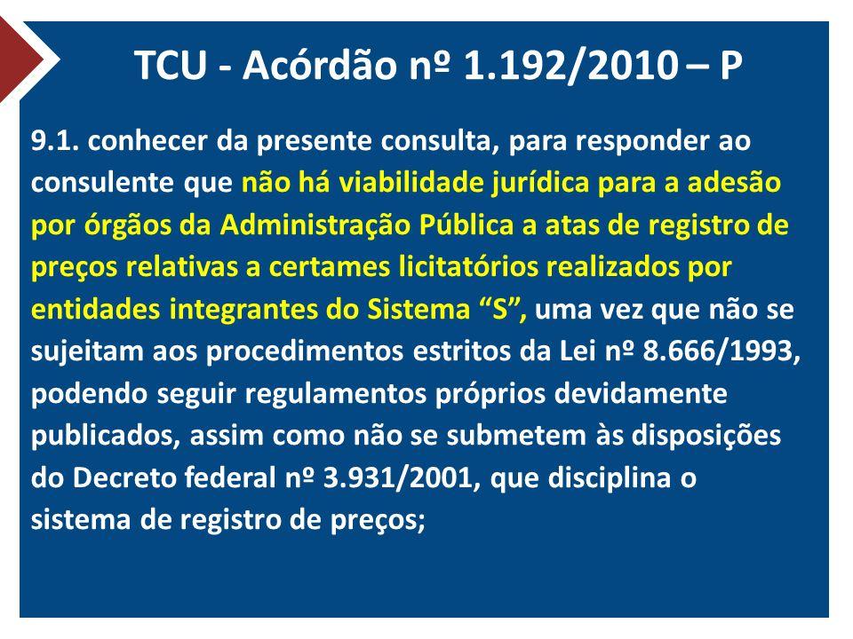 TCU - Acórdão nº 1.192/2010 – P