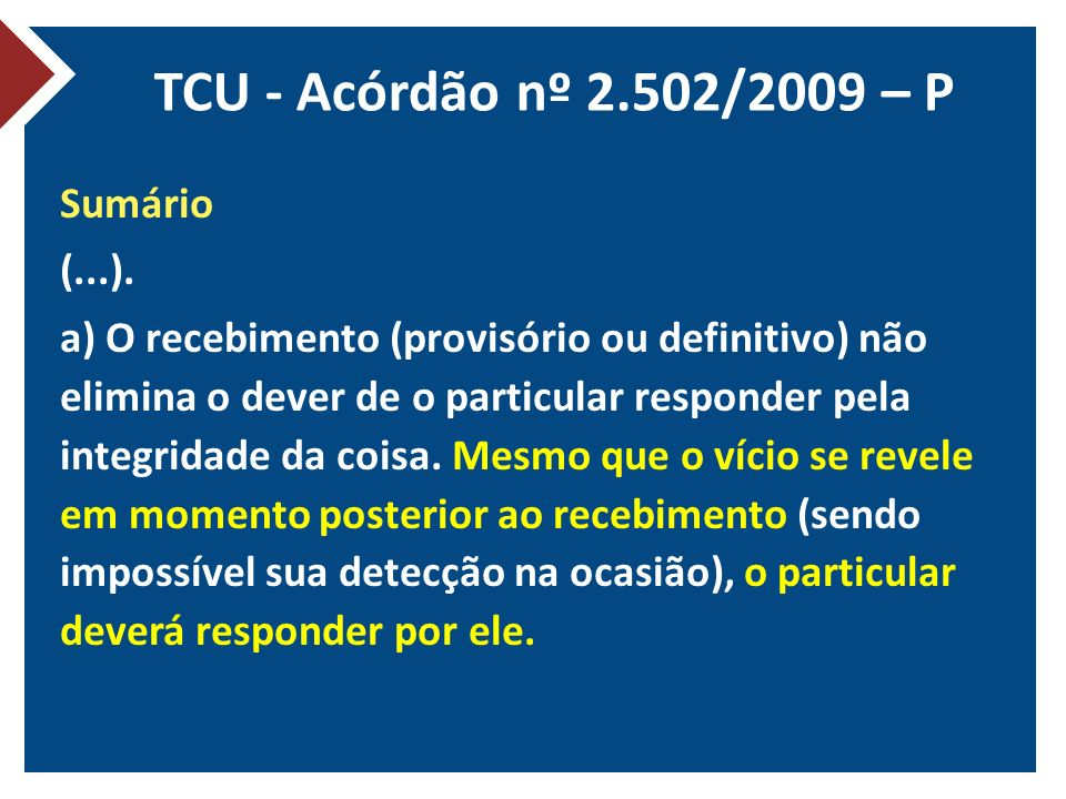 TCU - Acórdão nº 2.502/2009 – P