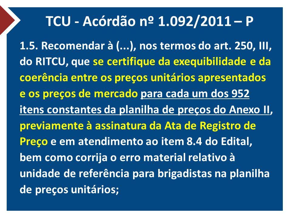 TCU - Acórdão nº 1.092/2011 – P