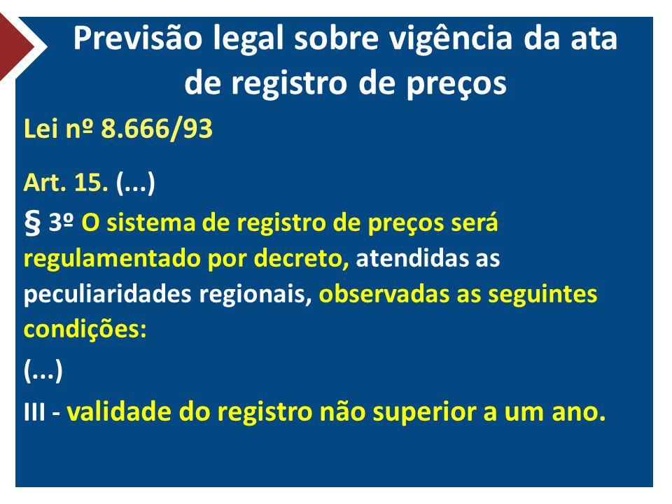 Previsão legal sobre vigência da ata de registro de preços