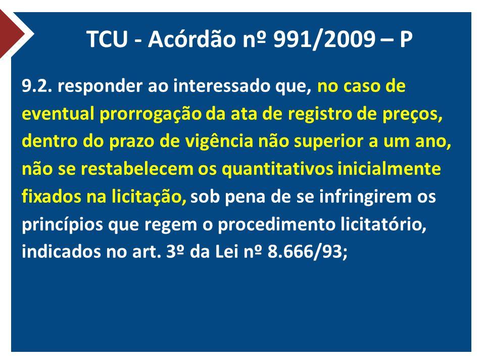 TCU - Acórdão nº 991/2009 – P