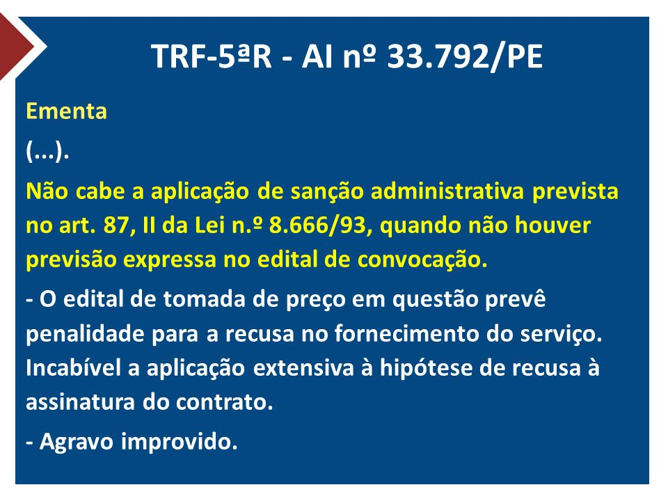 TRF-5ªR - AI nº 33.792/PE