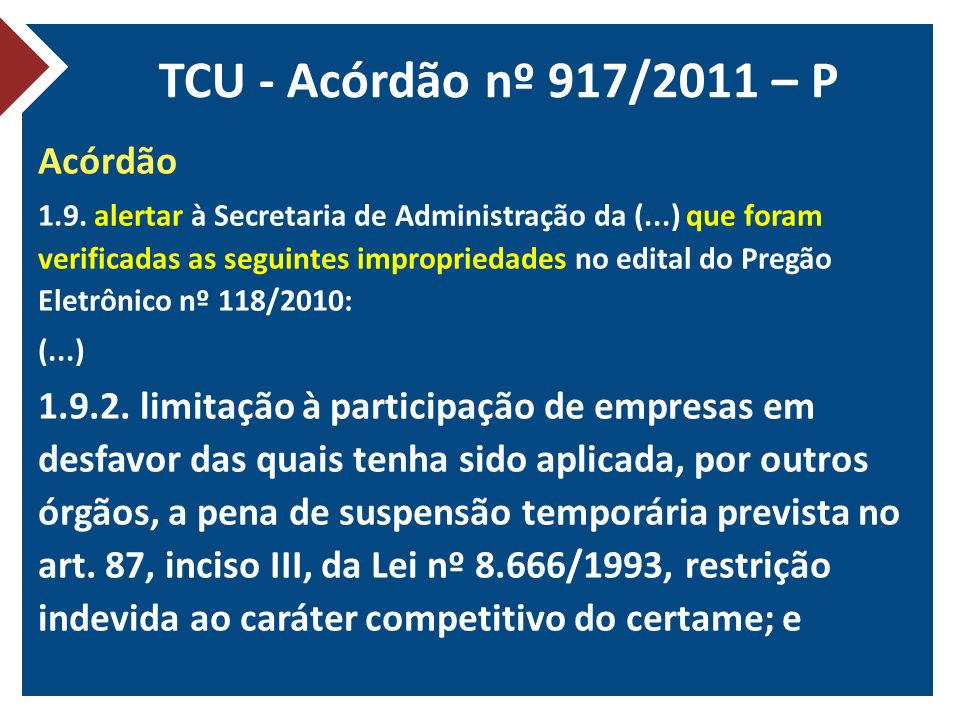 TCU - Acórdão nº 917/2011 – P Acórdão