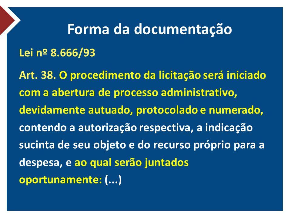 Forma da documentação