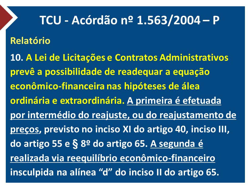 TCU - Acórdão nº 1.563/2004 – P