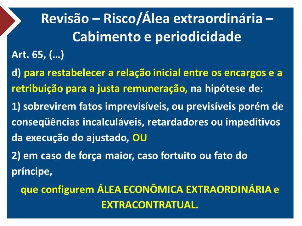 Revisão – Risco/Álea extraordinária – Cabimento e periodicidade