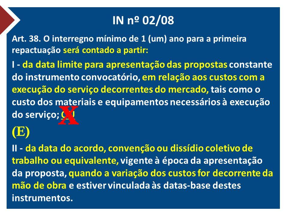 IN nº 02/08 Art. 38. O interregno mínimo de 1 (um) ano para a primeira repactuação será contado a partir:
