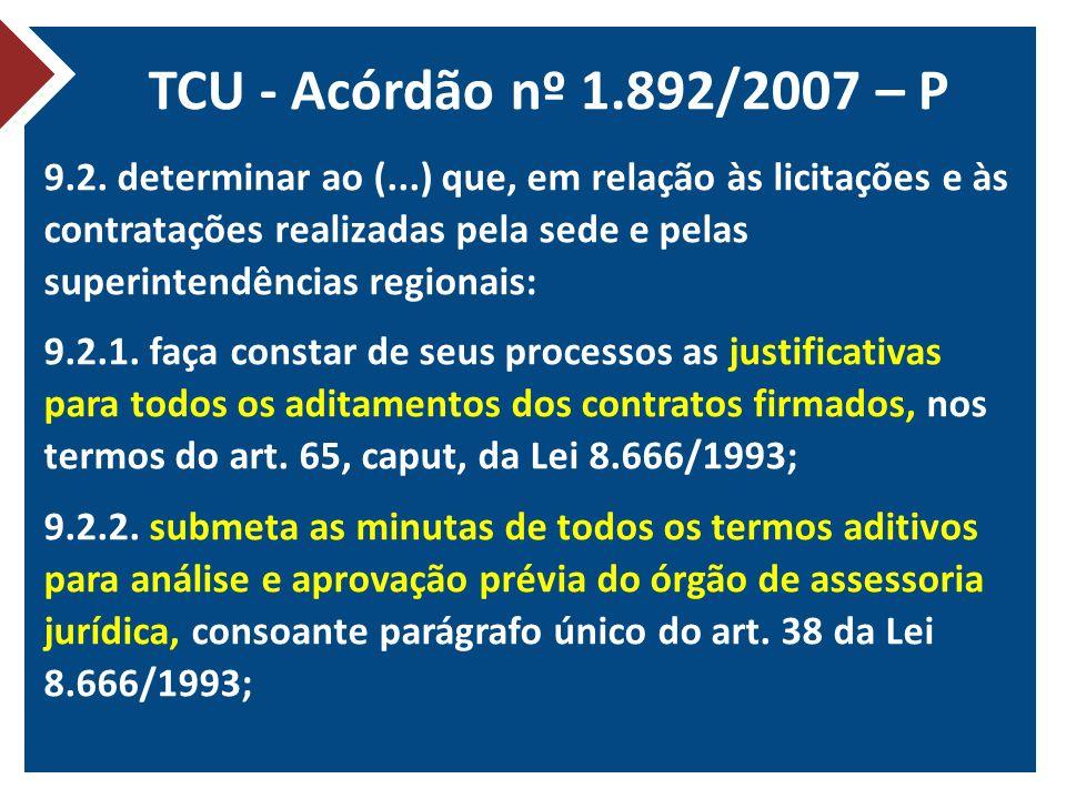 TCU - Acórdão nº 1.892/2007 – P