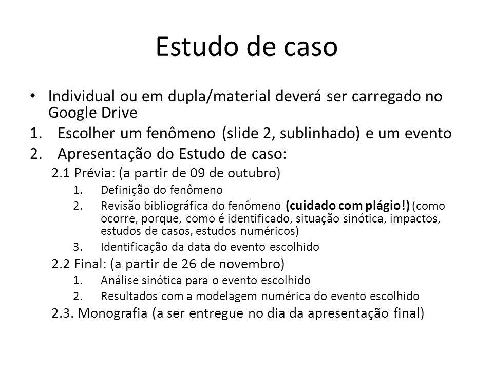 Estudo de caso Individual ou em dupla/material deverá ser carregado no Google Drive. Escolher um fenômeno (slide 2, sublinhado) e um evento.