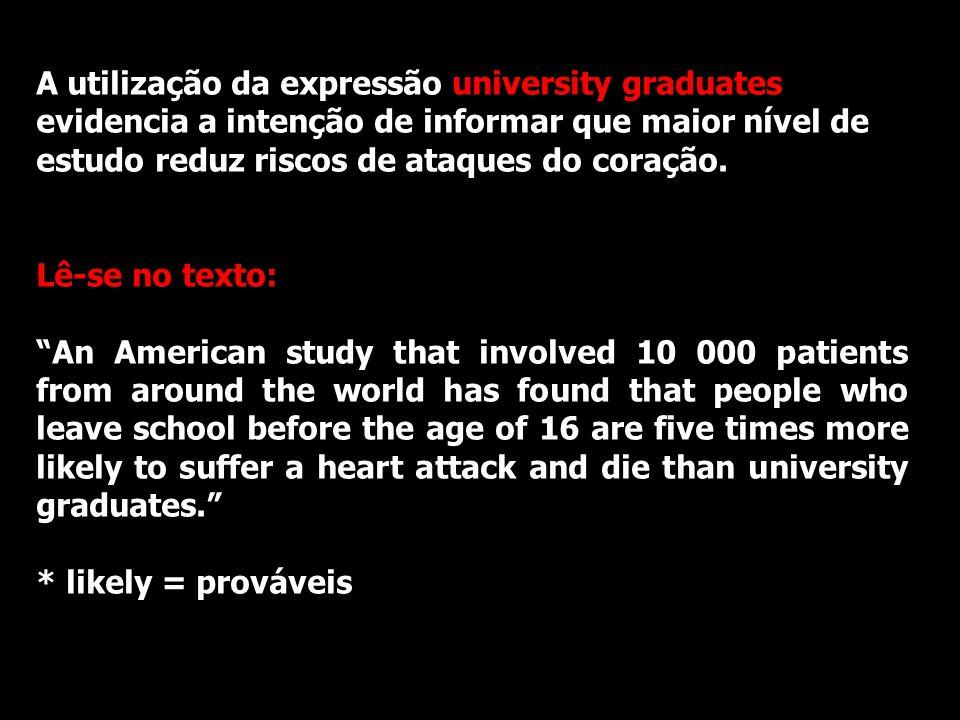 A utilização da expressão university graduates evidencia a intenção de informar que maior nível de