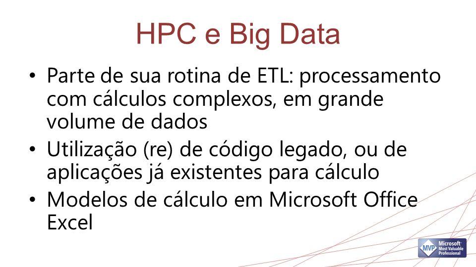 HPC e Big Data Parte de sua rotina de ETL: processamento com cálculos complexos, em grande volume de dados.