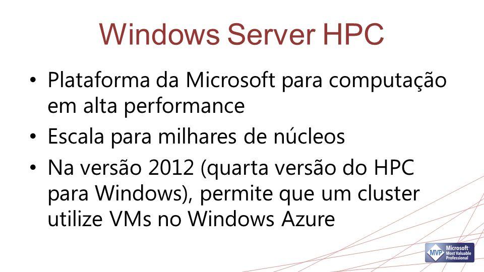 Windows Server HPC Plataforma da Microsoft para computação em alta performance. Escala para milhares de núcleos.