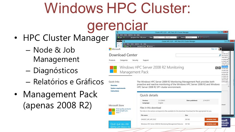 Windows HPC Cluster: gerenciar