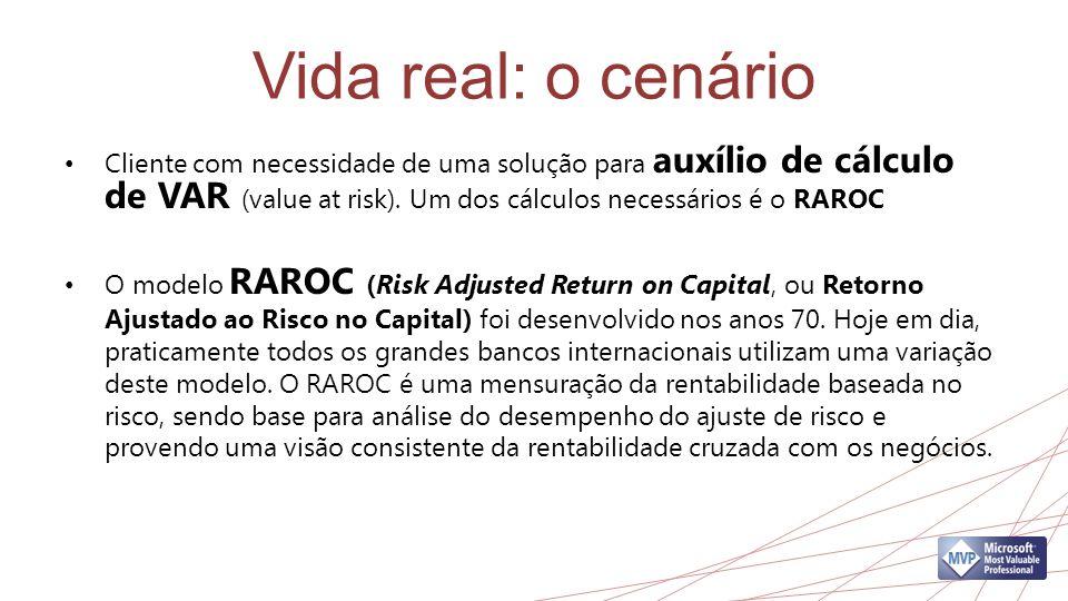 Vida real: o cenário Cliente com necessidade de uma solução para auxílio de cálculo de VAR (value at risk). Um dos cálculos necessários é o RAROC.