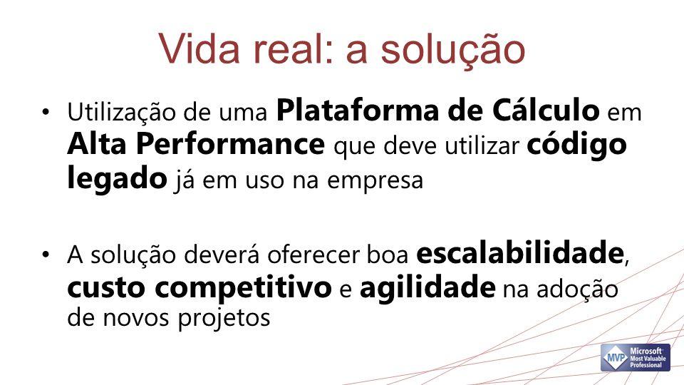 Vida real: a solução Utilização de uma Plataforma de Cálculo em Alta Performance que deve utilizar código legado já em uso na empresa.