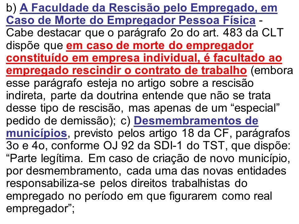 b) A Faculdade da Rescisão pelo Empregado, em Caso de Morte do Empregador Pessoa Física - Cabe destacar que o parágrafo 2o do art.