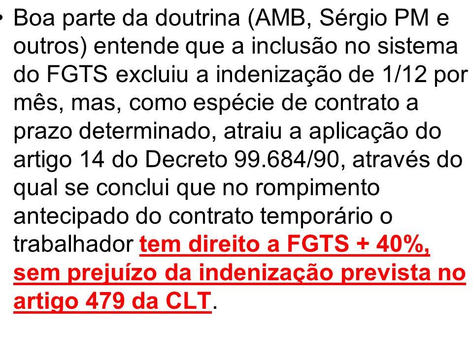 Boa parte da doutrina (AMB, Sérgio PM e outros) entende que a inclusão no sistema do FGTS excluiu a indenização de 1/12 por mês, mas, como espécie de contrato a prazo determinado, atraiu a aplicação do artigo 14 do Decreto 99.684/90, através do qual se conclui que no rompimento antecipado do contrato temporário o trabalhador tem direito a FGTS + 40%, sem prejuízo da indenização prevista no artigo 479 da CLT.