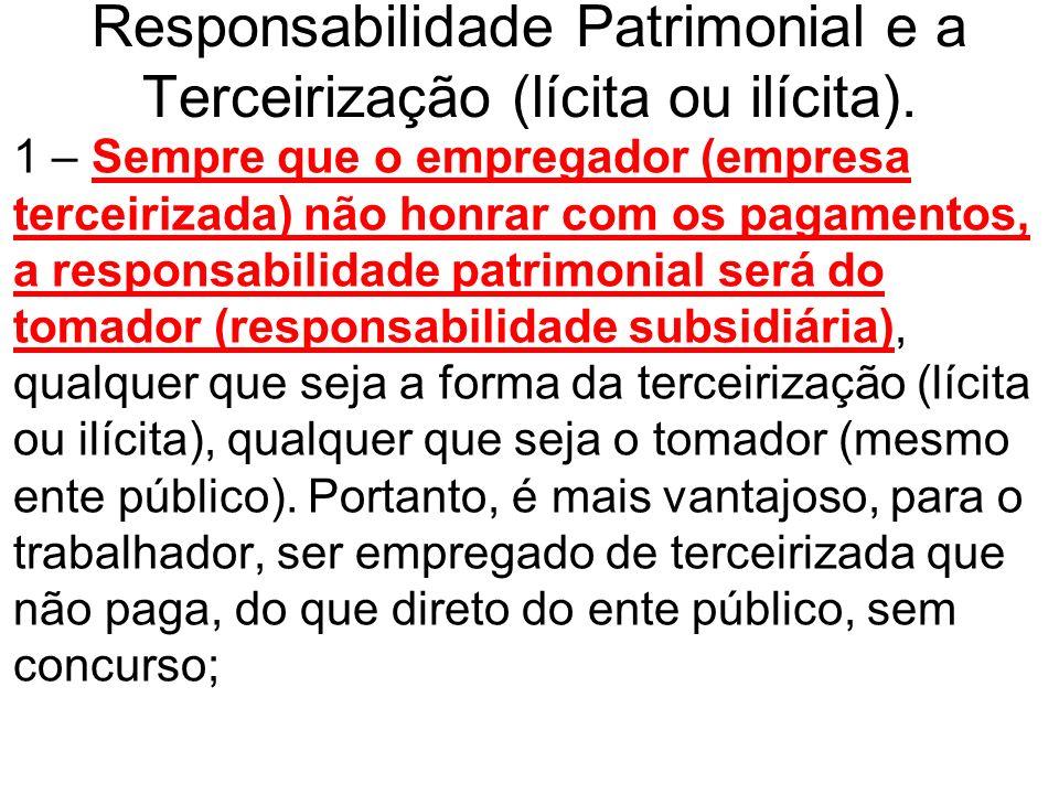Responsabilidade Patrimonial e a Terceirização (lícita ou ilícita).