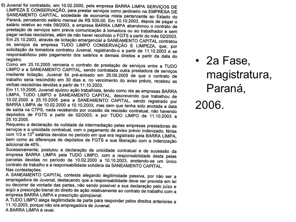 2a Fase, magistratura, Paraná,