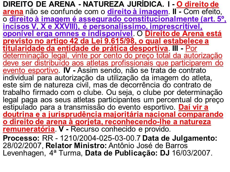 DIREITO DE ARENA - NATUREZA JURÍDICA