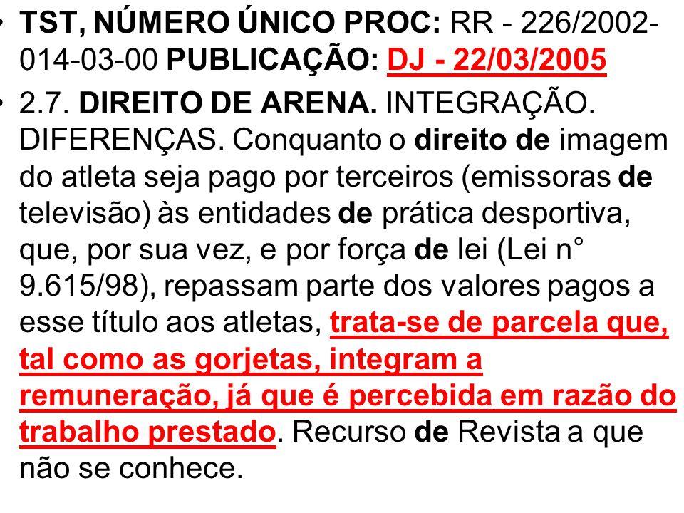 TST, NÚMERO ÚNICO PROC: RR - 226/2002-014-03-00 PUBLICAÇÃO: DJ - 22/03/2005