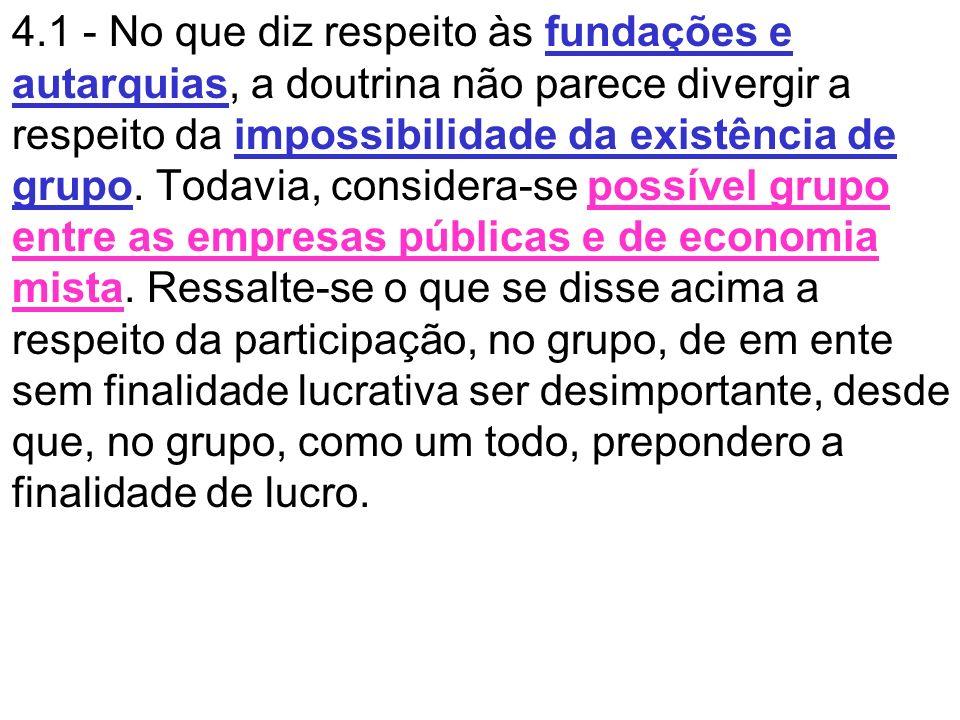 4.1 - No que diz respeito às fundações e autarquias, a doutrina não parece divergir a respeito da impossibilidade da existência de grupo.