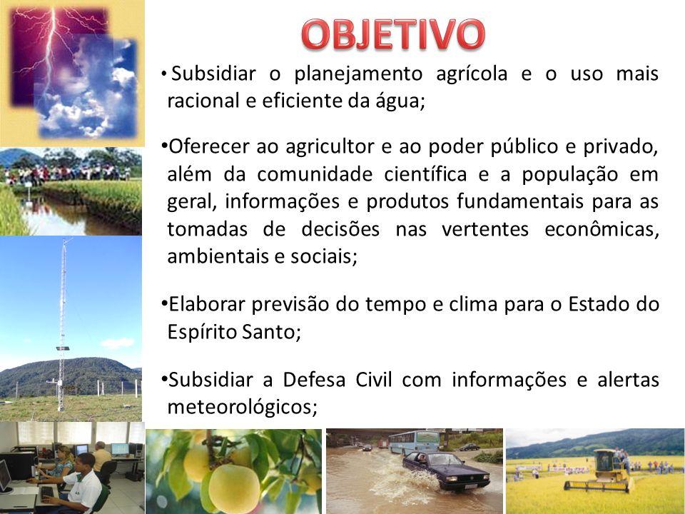 OBJETIVO Subsidiar o planejamento agrícola e o uso mais racional e eficiente da água;