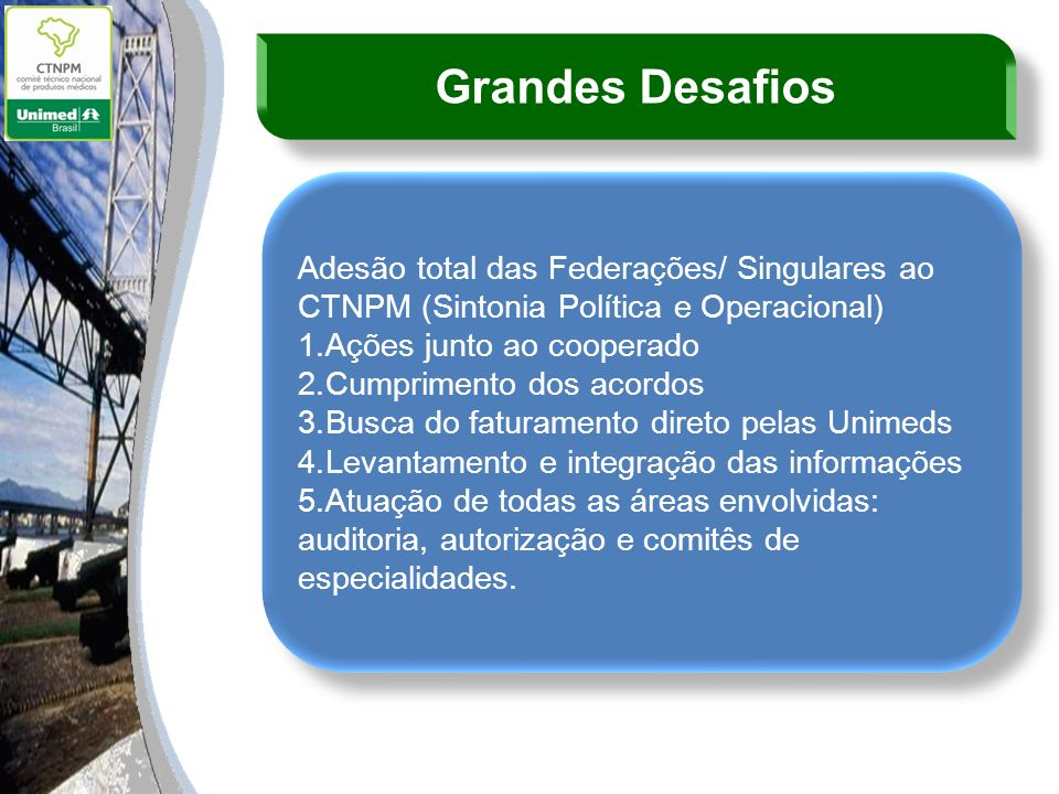 Grandes Desafios Adesão total das Federações/ Singulares ao CTNPM (Sintonia Política e Operacional)