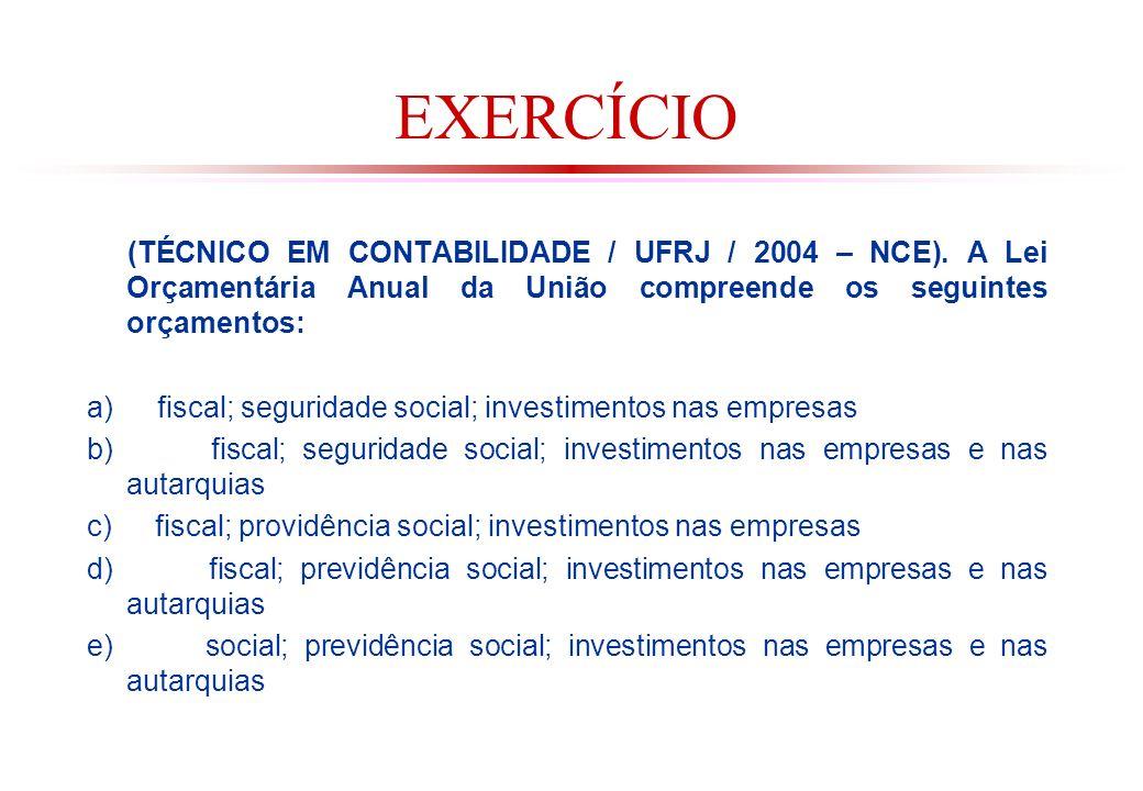 EXERCÍCIO (TÉCNICO EM CONTABILIDADE / UFRJ / 2004 – NCE). A Lei Orçamentária Anual da União compreende os seguintes orçamentos: