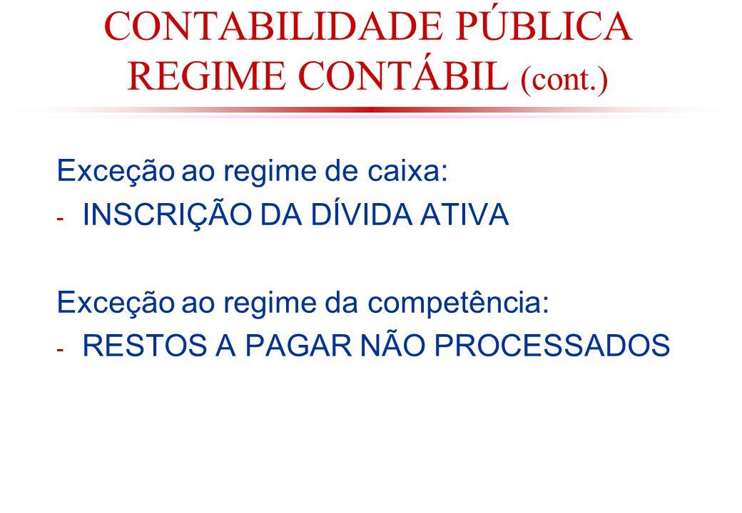 CONTABILIDADE PÚBLICA REGIME CONTÁBIL (cont.)