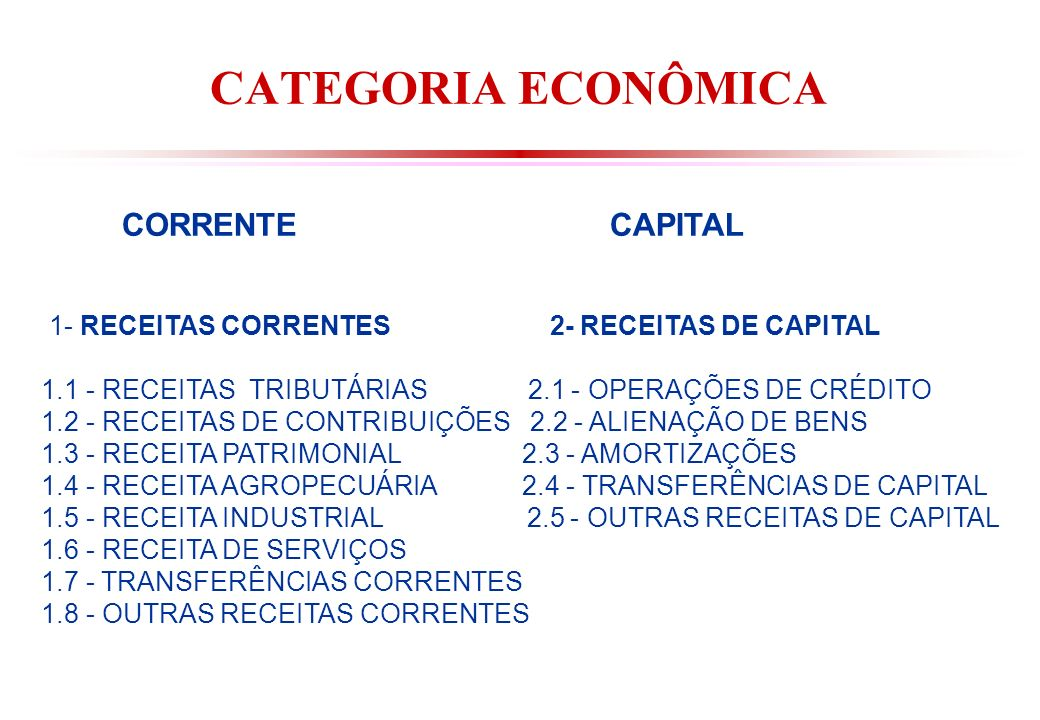CATEGORIA ECONÔMICA CORRENTE CAPITAL