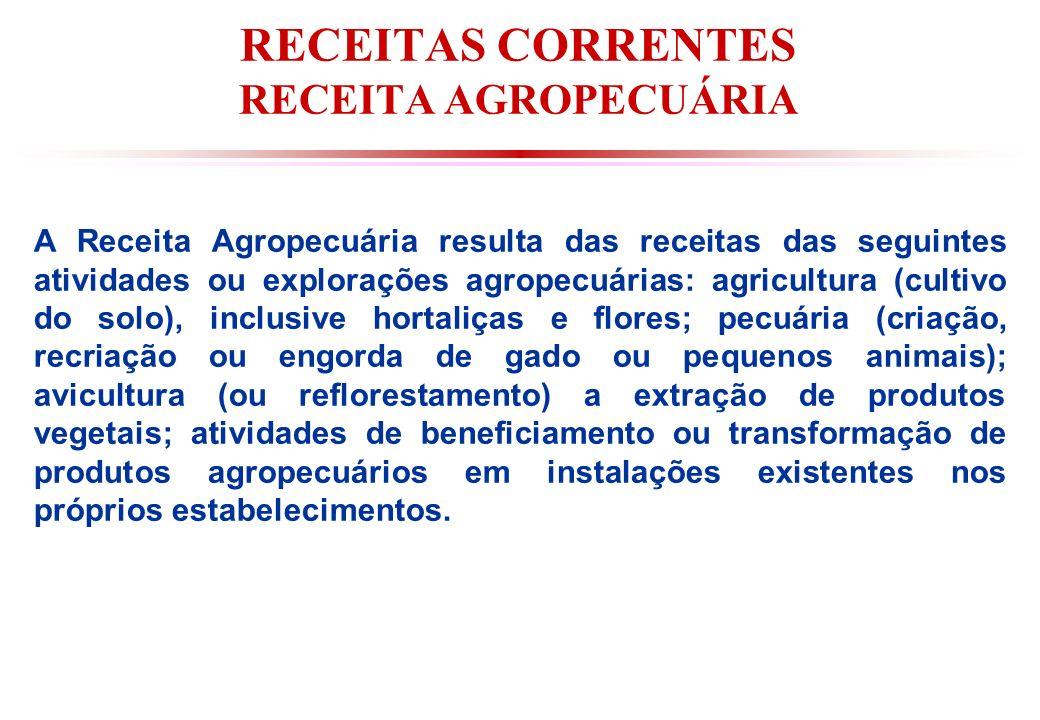 RECEITAS CORRENTES RECEITA AGROPECUÁRIA