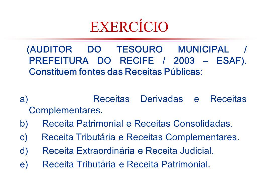 EXERCÍCIO (AUDITOR DO TESOURO MUNICIPAL / PREFEITURA DO RECIFE / 2003 – ESAF). Constituem fontes das Receitas Públicas: