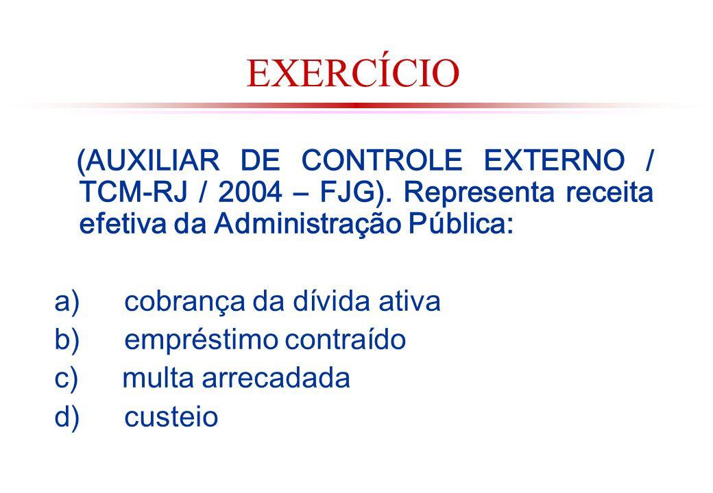 EXERCÍCIO (AUXILIAR DE CONTROLE EXTERNO / TCM-RJ / 2004 – FJG). Representa receita efetiva da Administração Pública: