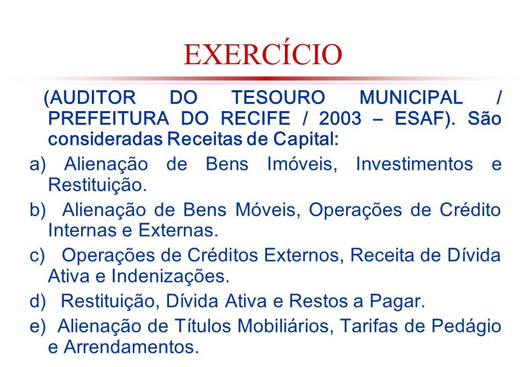 EXERCÍCIO (AUDITOR DO TESOURO MUNICIPAL / PREFEITURA DO RECIFE / 2003 – ESAF). São consideradas Receitas de Capital: