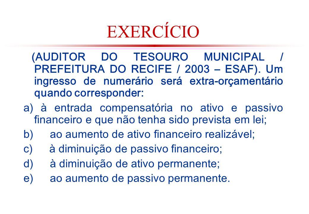 EXERCÍCIO (AUDITOR DO TESOURO MUNICIPAL / PREFEITURA DO RECIFE / 2003 – ESAF). Um ingresso de numerário será extra-orçamentário quando corresponder: