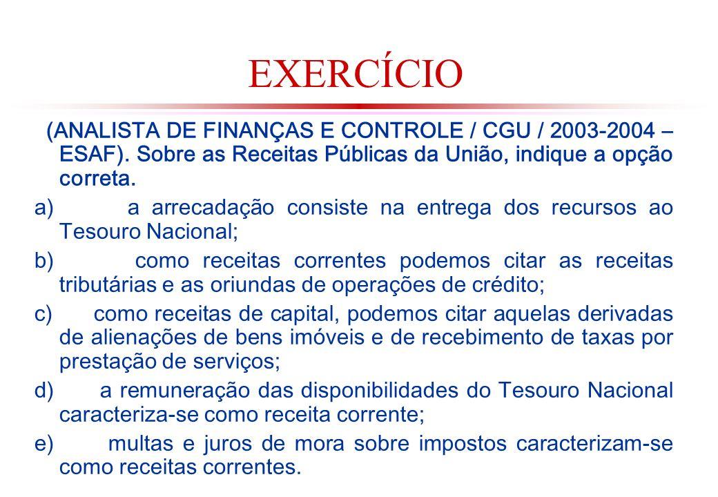 EXERCÍCIO (ANALISTA DE FINANÇAS E CONTROLE / CGU / 2003-2004 – ESAF). Sobre as Receitas Públicas da União, indique a opção correta.