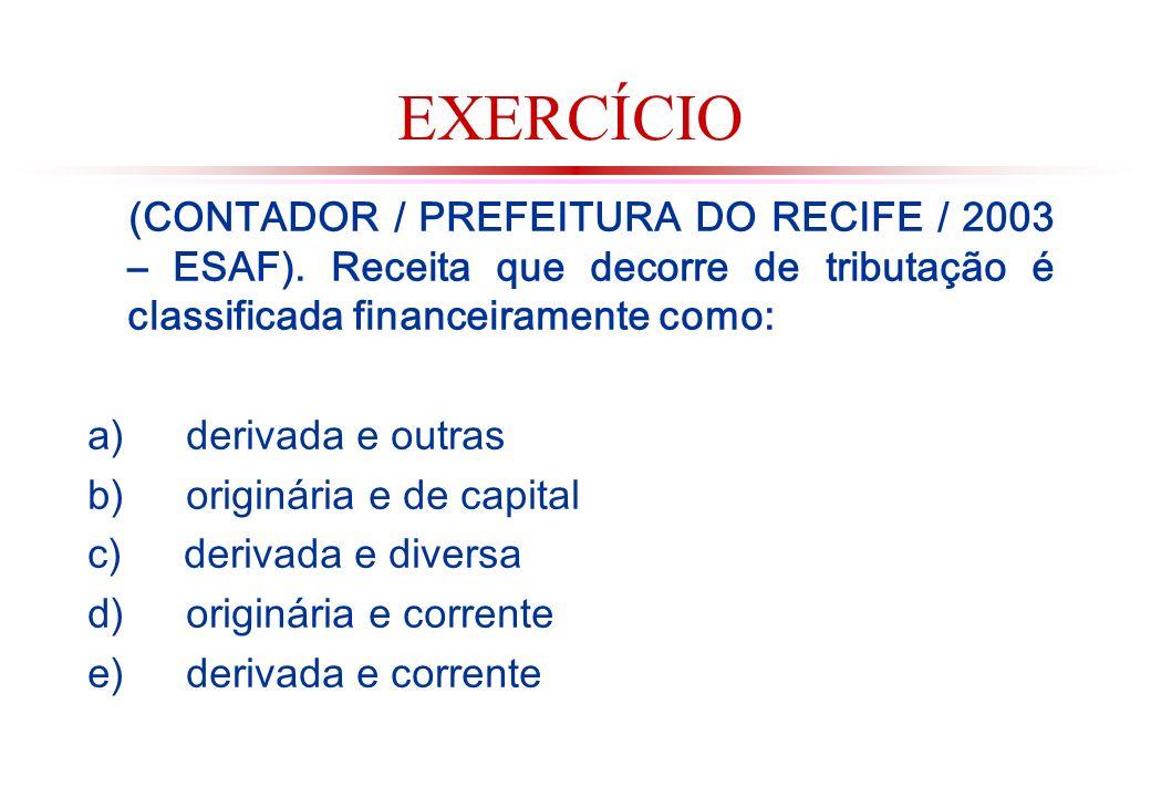 EXERCÍCIO (CONTADOR / PREFEITURA DO RECIFE / 2003 – ESAF). Receita que decorre de tributação é classificada financeiramente como: